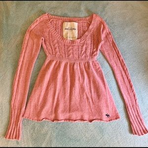 Abercrombie & Fitch Pink Sweater Babydoll Top